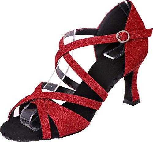 Vimedea Femmes Bout Ouvert Corps Bretelles Mi-talon Confort Latin Tango Cha-cha Swing Salle De Bal Parti Mariage Sudue Douce Glitter Pu Chaussures De Danse Rouge