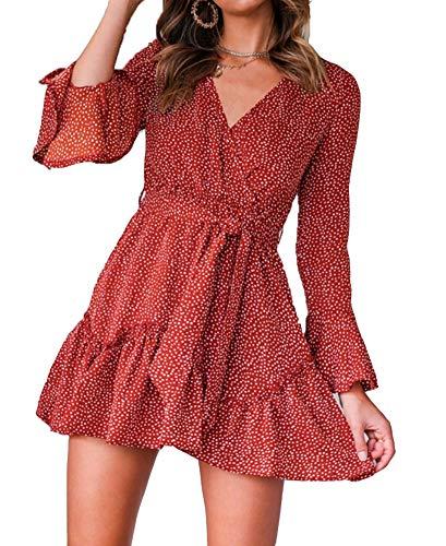 Nensiche 2019 Women Short Sleeve Wrap Boho Floral Mini Dress Ladies Summer Sundress Holiday V-Neck Women's High Waist…