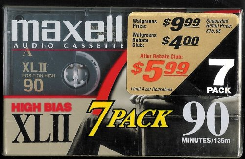Maxell XLII IEC Type II 90 Minute High Bias Audio Cassette Tape - 7 Pack 5272376