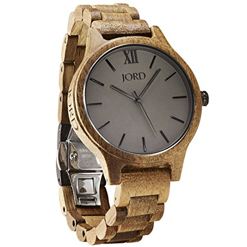 JORD Wooden Wrist Watches for Men or Women - Frankie Minimalist Series / Wood Watch Band / Wood Bezel / Analog Quartz Movement - Includes Wood Watch Box (Koa & Ash)
