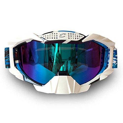 Wonzone Windproof Dustproof Motorcycle Cross country Sunglasses Snowboard Ski Goggles Adjustable UV Protective Outdoor Glasses Anti-fog Eyewear Combat Skiing Snow Goggles (Blue&White) ()
