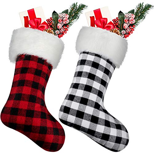 Jovitec 20 Inch Christmas Stockings Fireplace Hanging Stockings Cozy Faux Fur Stocking Plaid Stocking for Christmas Decoration (Color 2, 2 Pieces)