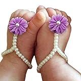 Bestjybt® Baby Girl Pearl Chiffon Foot Flower Shoes Barefoot Sandals, Purple