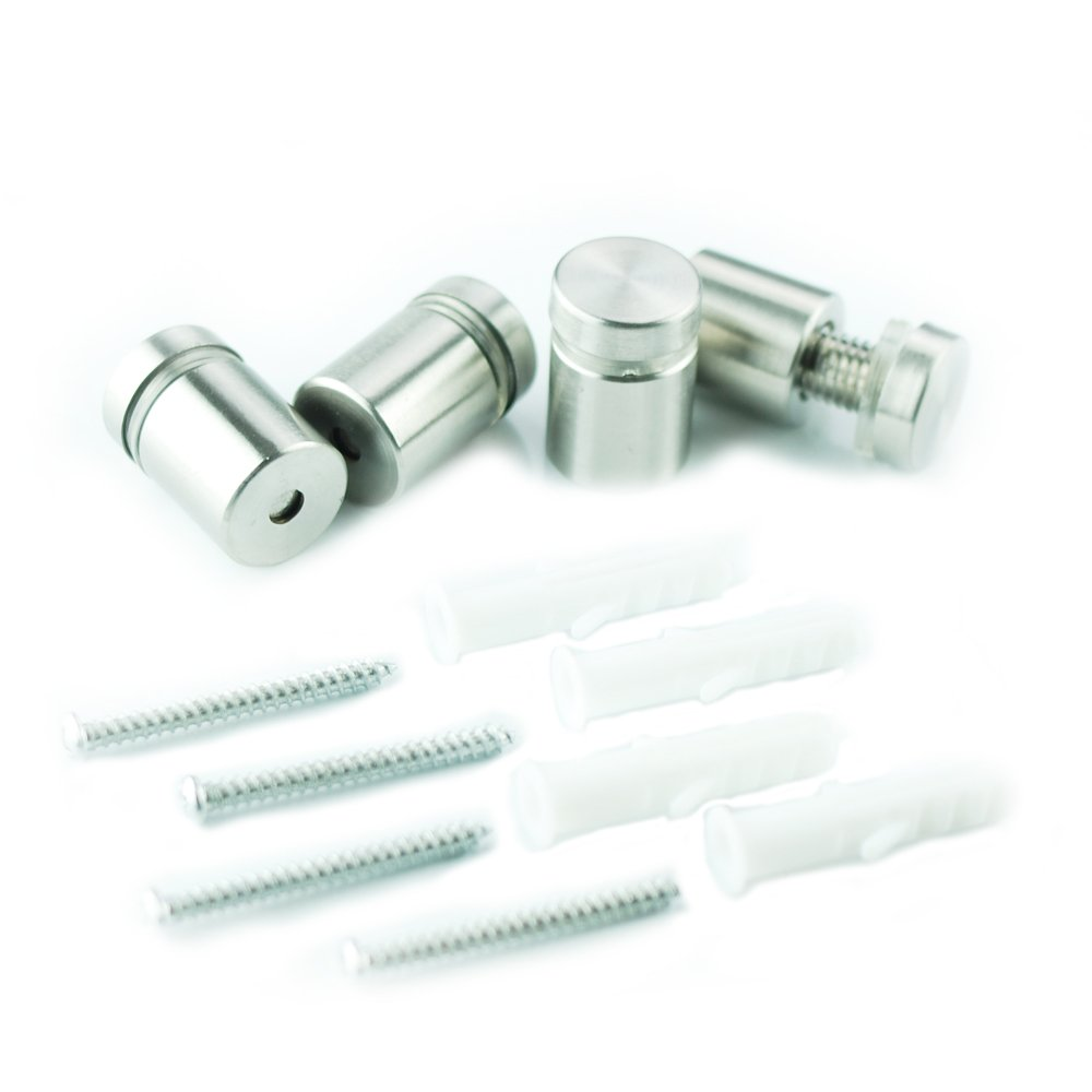 Lockways Glass Board Mounting Parts Kit - 4 Pack Includes Mounts, Screws, and Wall Anchors for Lockways Glass Board