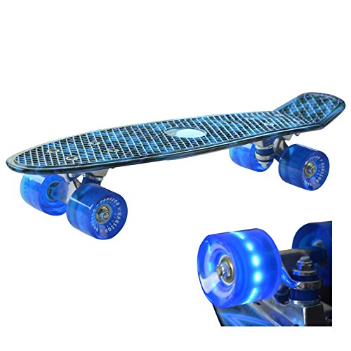 Retro Kinder Skateboard Mini Cruiser (Blau) mit LED Leuchtenrolle