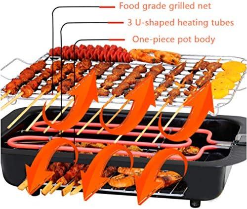 SHR-GCHAO Double-Pont Électrique sans Fumée Grill, Multifonctions 2-en-1 Électrique Teppanyaki Grill Table, Grill Et Plaque Amovible Crêpière, Usage Intérieur Et Extérieur,110V