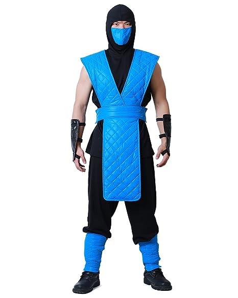 Ninja Halloween Costume Men.Miccostumes Men S Shotokan Ninja Blue Fighter Halloween Cosplay Costume