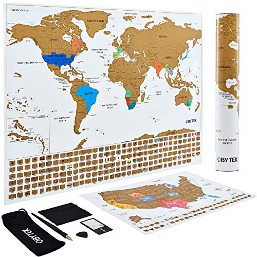Including Maps - Obytek Scratch Off Map of The World 2019 Release 24x17-Inch with USA Map Poster 17x11-Inch and Tracker of Countries You Have Been to including All Country Flags & Accessories (White)