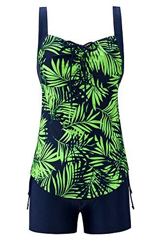 516d015606d Saejous Women s Retro Leaf Print Swimwear Plus Size Swimsuit Two Piece Pin  up Bathing Suit (18W