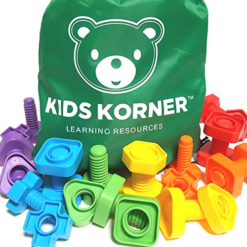 Jumbo Nuts and Bolts Set with Toy Storage and eBook | Montessori Toddler Rainbow Matching Game Activities | Fine Motor Skills Autism Educational Toys for Baby, 1, 2, 3 Year Old Boy and Girl | 24 pc (Game Skills Life Math)