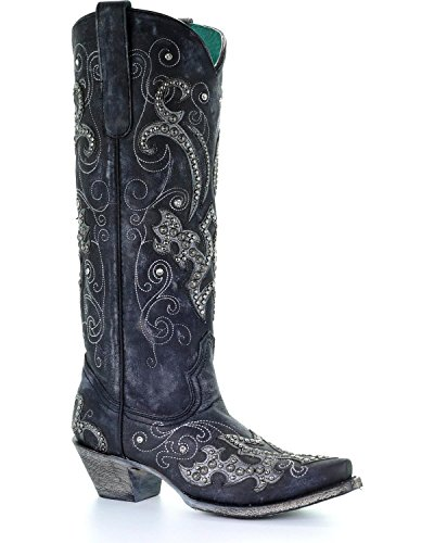 CORRAL Women's Tall Studded Overlay and Crystals Cowgirl Boot Snip Toe Black 9 M ()