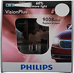 Philips H13 9008 VisionPlus Replacement Bulb, (Pack of 2)