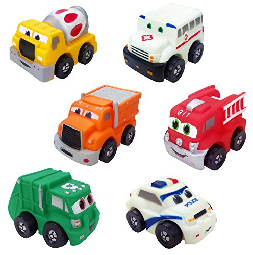Liberty Imports Set of 6 Cartoon City Silicone Emergency Vehicles Squeeze and Roll Toy Playset for Kids (Police Car, Fire Truck, Ambulance, Cement Mixer, Garbage & Dump (Pull Back Vehicle)