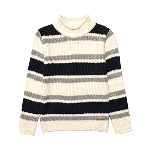 MiMiXiong MMX Boys Colorful Striped Winter Pullovers Sweaters Autumn Casual Children Knitwear Outerwear (3T, White) by MiMiXiong (Image #1)