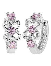 """Rhodium Plated Pink Crystal Flower Small Hoop Huggie Girl Earrings 0.47"""""""