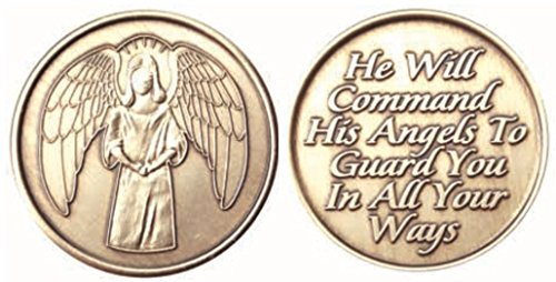 Angels Chip (Wendells - Guardian Angel Bronze Medallion Chip He Will Command His Angels To Guard You In All Your Ways)