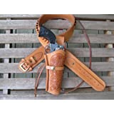 Natural Leather .22 Caliber Gun Belt and Right Handed Tooled Holster Combination