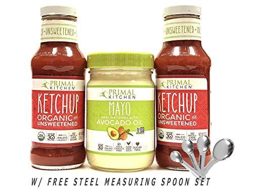 Primal Kitchen Avocado Oil Mayo + Organic Unsweetened Ketchup Set (w/Free Steel Measuring Spoon Set)