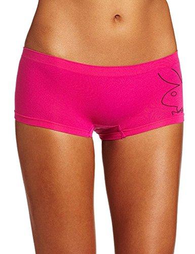 Playboy Women's Seamless Boyshort Brief Panty with Bunny Logo, Fuschia, Medium Playboy Shorts