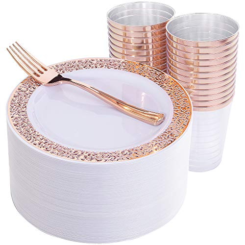 (150 Pieces Rose Gold Salad Plates, Rose Gold Disposable Forks and Cups, White Appetizer Plates with Lace Design, Includes: 50 Salad Plates 7.5