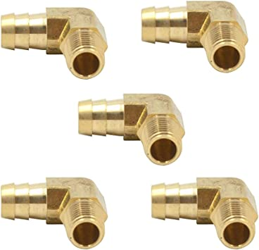 5pcs Vis Brass Hose Barb Adapter Fitting 5//16 Barb x 1//8 NPT Male Straight Male Connector
