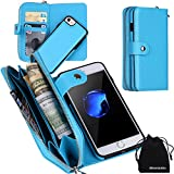 iPhone 7 Case, Zipper Wallet Type Flip Folio Premium Leather Credit Card Holder Case with Wrist Strap - Detachable Magnetic Back Cover for iPhone7 (4.7'') - Blue