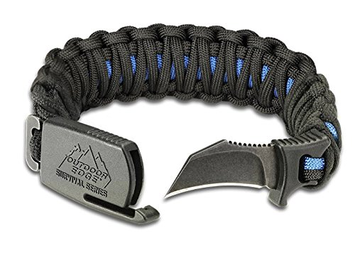 Outdoor Edge Para-Claw Heavy-Duty Paracord Knife Survival Bracelet (Blue/Black, Medium - Wrist Size 6.25 to 7.0 inches)