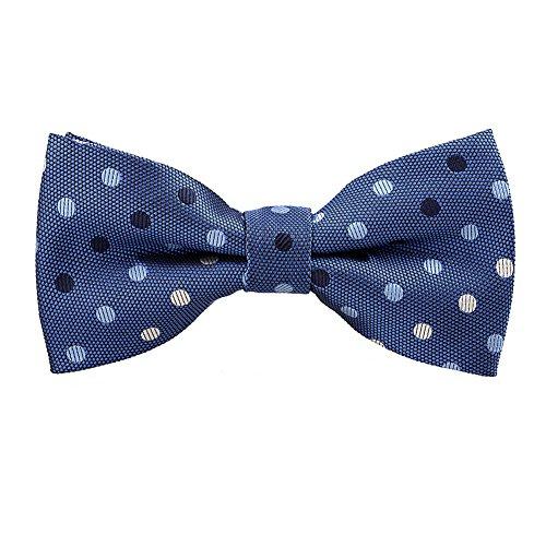 - Mens Classic Polka Dots Patterned Bow Ties, Denim Blue