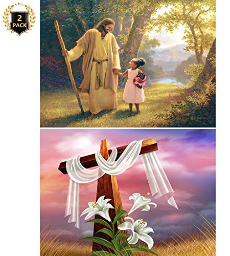 Yomiie 5D Diamond Painting Jesus & Girl Easter Lily Cross Full Drill by Number Kits for Kids Adults, Paint with Diamonds Set DIY Craft Arts Wall Decor (12x16inch, 2 Pack)