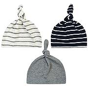 Unisex Baby Adjustable Knot Hat Cotton soft Cute Knit Hat Cap (3 pac(gray+white black stripe))