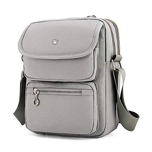 Crossbody Bag for Women, JOSEKO Multi-Pocketed Nylon Shoulder Bag Purse Travel Passport Bag Messenger Bag Grey 7.87''(L) x 2.76''(W) x 10.24''(H)