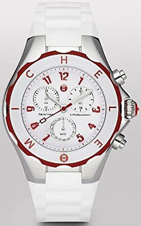 Michele Tahitian Jelly Bean Large Red and White Chronograph Damenuhr MWW12F000022