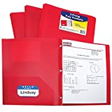 C-Line Two-Pocket Heavyweight Poly Portfolio with Prongs,  Includes Business Card Slot, 1 Carton of 150 Portfolios, Red (33964)