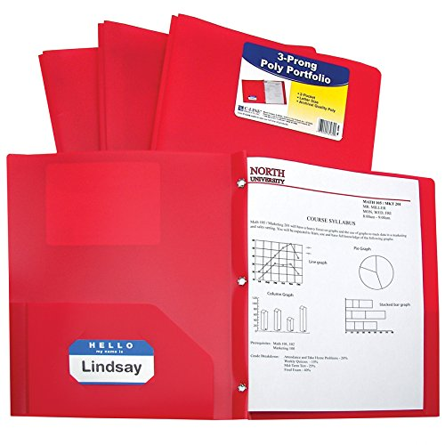 C-Line Two-Pocket Heavyweight Poly Portfolio with Prongs,  Includes Business Card Slot, 1 Carton of 150 Portfolios, Red (33964) by C-Line