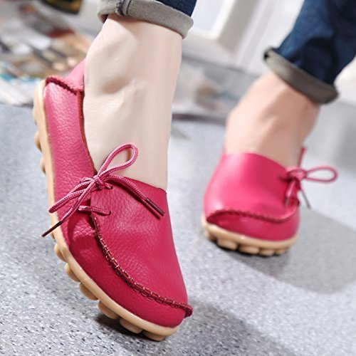 FAYALE Womens Driving Shoes Lace-Up Loafers Flats Shoes Rose Red buhm9Tsyw