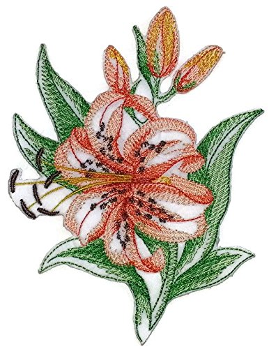 (BeyondVision Custom Blooming Flowers Sketch[Sketched Tiger Lily Single ] Embroidered Iron on/Sew patch [4.5