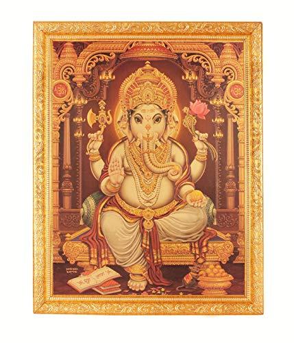 Golden Foil Photo of Ganesh-Ji in Golden Frame Big (14 X 18 Inches) Religious Wall Decor (Best Photos Of Ganesh Ji)