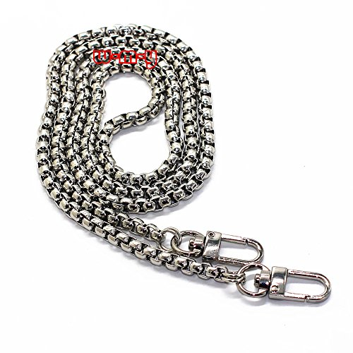 M-W 39.4 DIY Iron Box Chain Strap Handbag Chains Accessories Purse Straps Shoulder Cross Body Replacement Straps, with Metal Buckles Style2 (Silver)