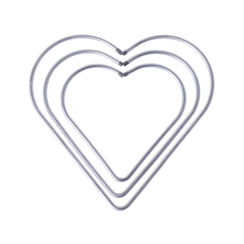 Vosarea 3pcs Anneaux Coeur en Métal Cerceaux Métal Macramé Anneaux pour Capteur de rêves Bricolage Artisanat Argent (8cm + 10cm + 12cm)