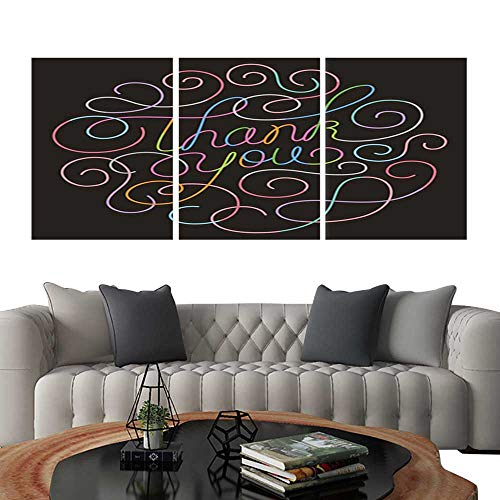(UHOO Modern Canvas Painting Wall Art neon Thank You Calligraphy Design. Triple Art Stickers)