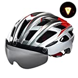 VICTGOAL Bike Helmet for Men Women with Safety Led Back Light Detachable Magnetic Goggles Visor Mountain & Road Bicycle Helmets Adjustable Adult Cycling Helmets (New Silver) For Sale