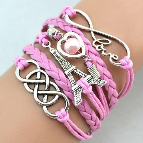 Leder Armband Wickelarmband Vintage Freundschaft Lederarmband Infinity Love NEU (Modell 33)