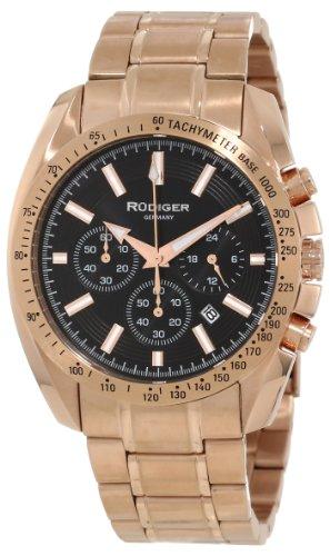 Rudiger Men's R1000-09-007 Dresden Rose Gold IP Black Luminous Dial Chronograph Tachymeter Watch (Tachymeter Gents Chronograph Watch)