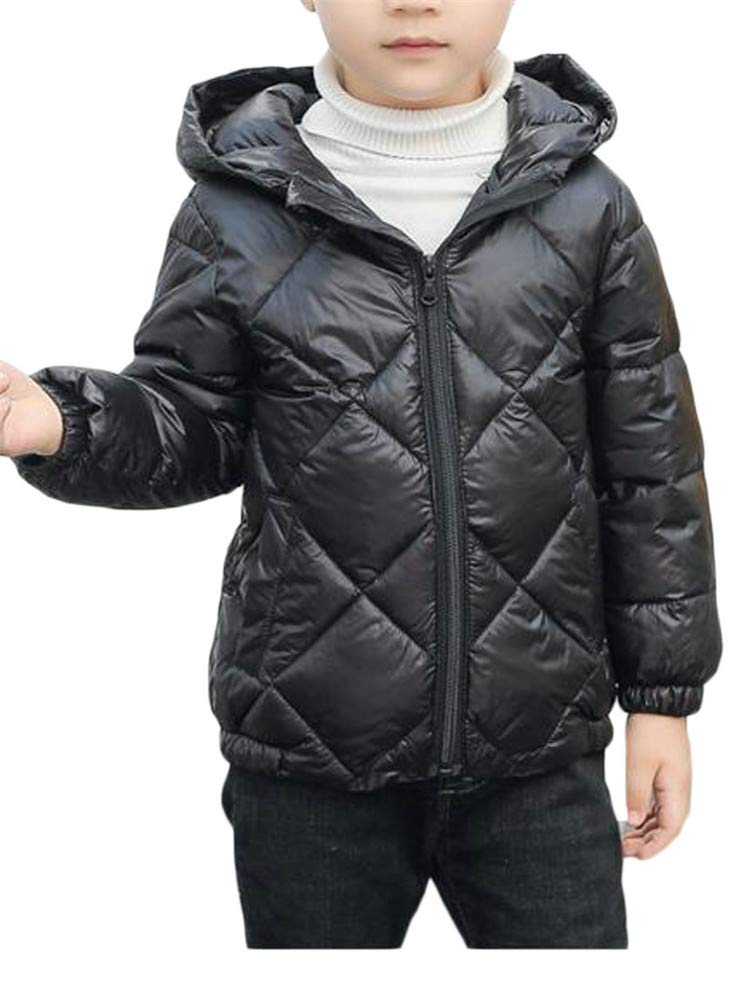 XiaoTianXinChildrenscostumes XTX Boy's Winter Quilted Lightweight Zip Thin Down Hooded Jacket Parka Coat Black 2T
