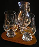 Dalmore Glencairn Scotch Whisky Two Glass and Iona Water Pitcher Flight Tray Set