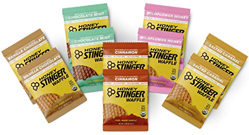 Honey Stinger Gluten Free Waffles – Variety Pack – 10 Count – 2 of Each Flavor – Energy Source for Any Activity – Vanilla & Chocolate, Wildflower Honey, Chocolate Mint, Salted Caramel & Cinnamon