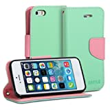 GMYLE (R) Wallet Case Classic for iPhone 5 5S - Mint Green & Pink Cross Pattern PU Leather Slim Magnetic Flip Stand Cover