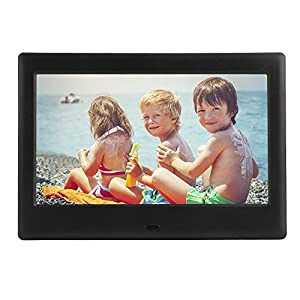 DBPOWER HD Digital Photo Frame IPS LCD Screen with Auto-Rotate/Calendar/Clock Function & Remote Control, Black (7 inch)