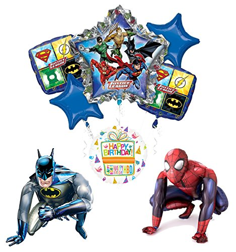 Justice League Party Supplies Batman and Spider-Man Airwalker Balloon Bouquet Decorations (League Bouquet Justice Balloon)