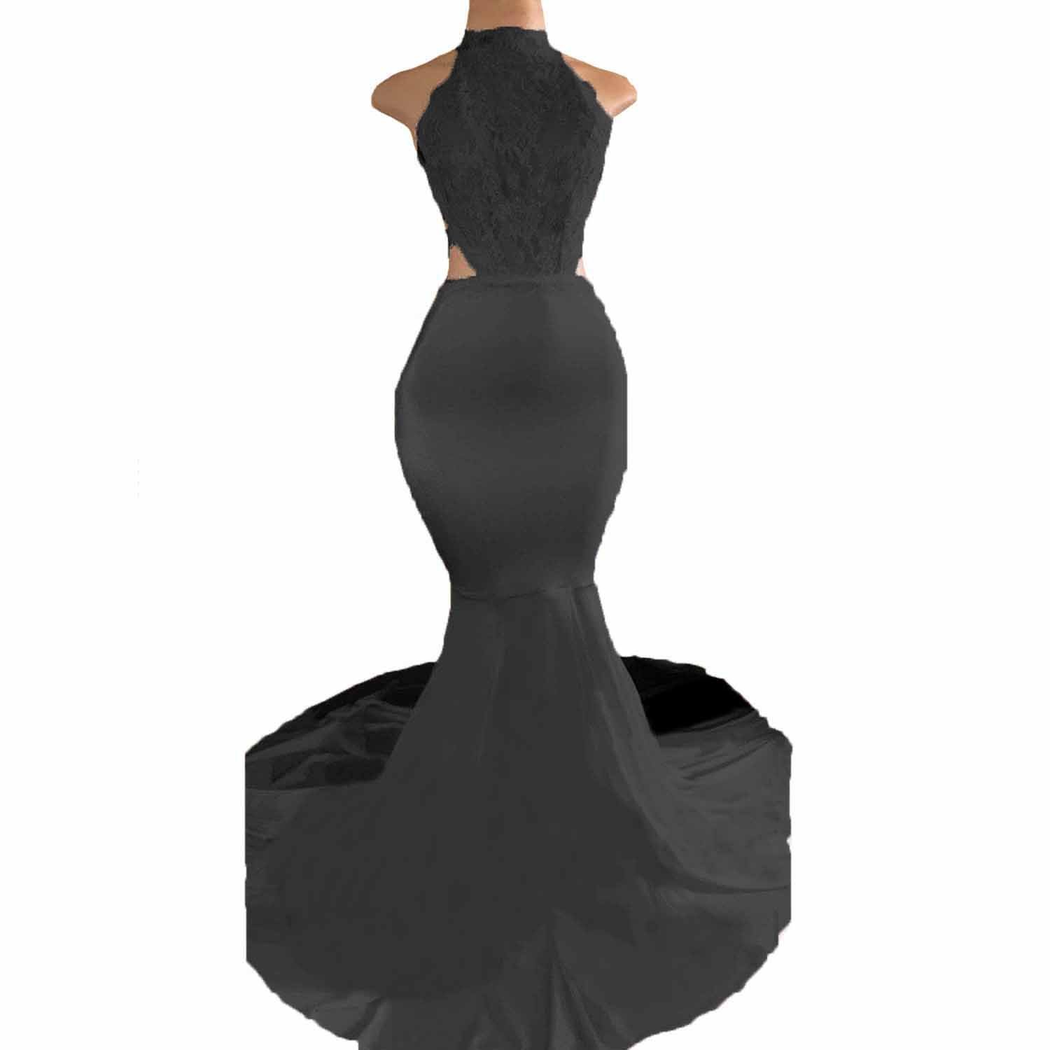 9ad5753152e Fair Lady High Neck Mermaid Prom Dresses Long Open Back Halter Lace Evening  Gown at Amazon Women s Clothing store